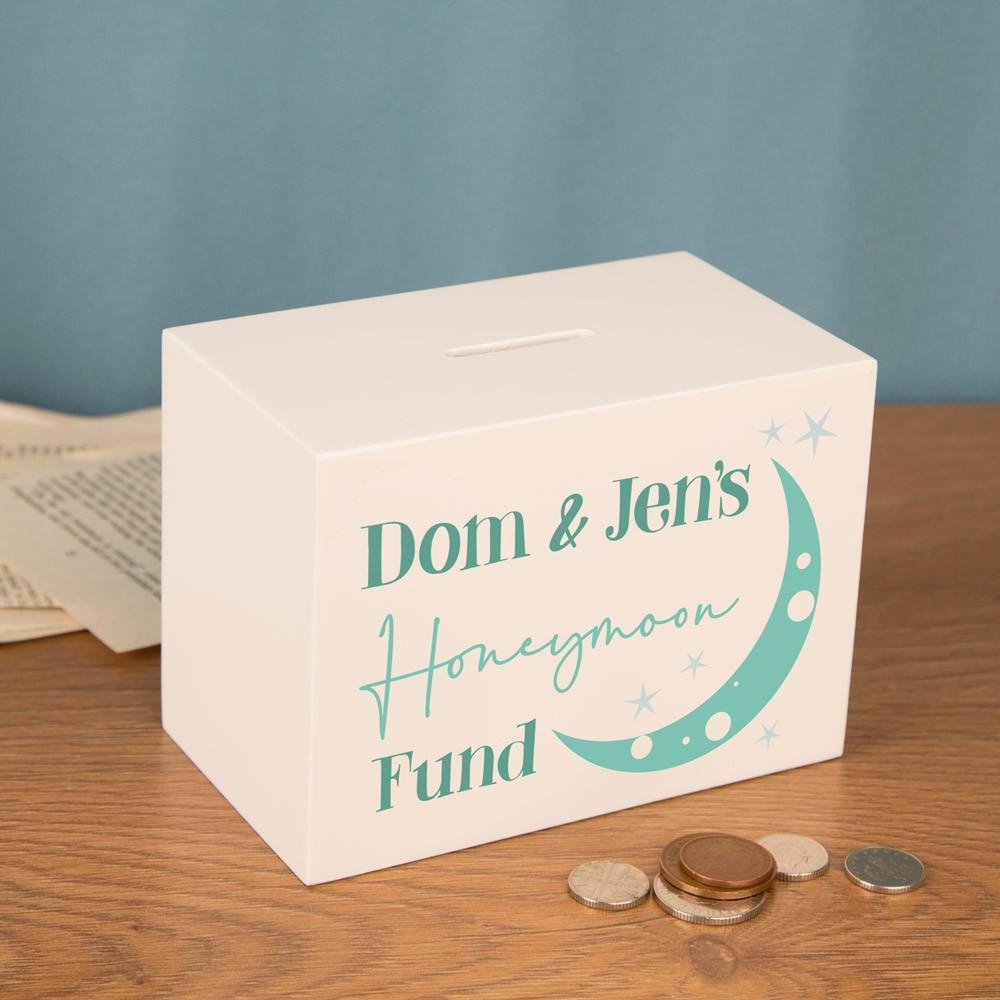 Honeymoon Gift Idea. Personalised Wooden Money Box