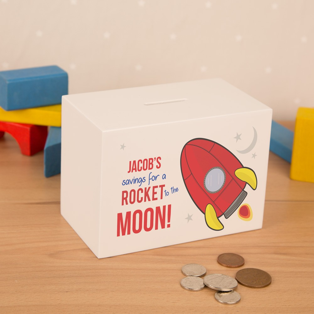Customized Wooden Rocket Space Ship Kids Money Box