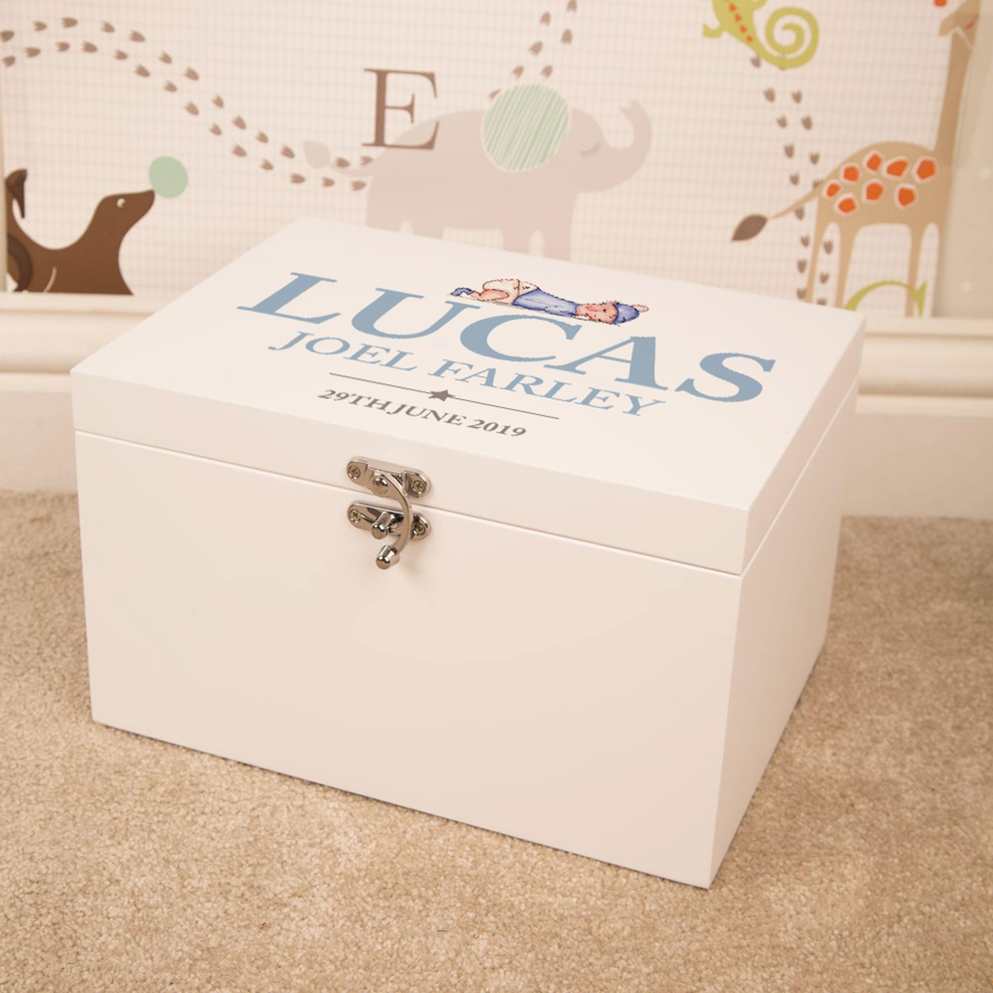 Illustrated Baby Boy Design Personalised White Keepsake Box