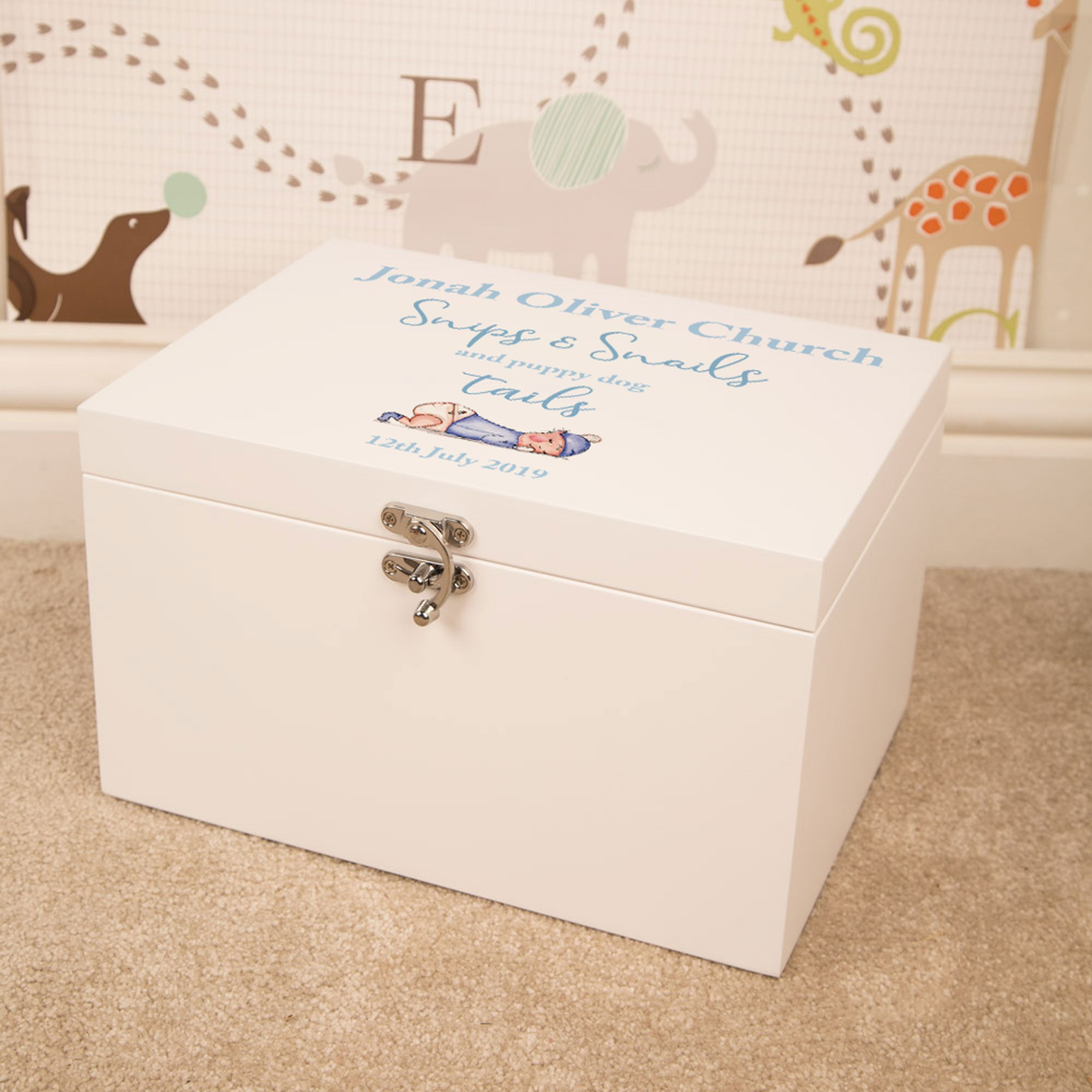 Puppy Dog Tails Baby Boy Customised Large Wooden Memory Box