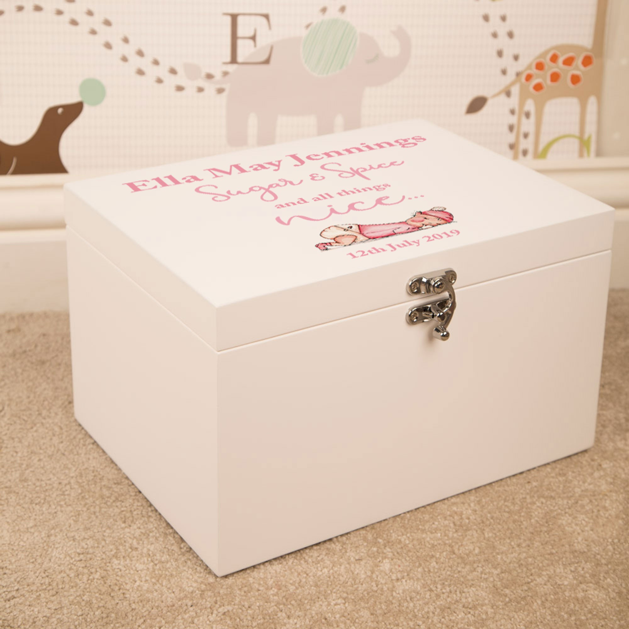 Sugar and Spice Baby Girl Personalised Large Wooden Keepsake Box