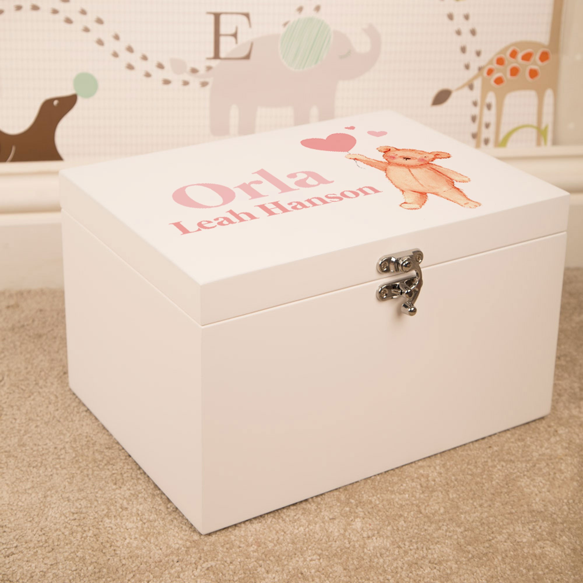 Baby Girl Keepsake Box. Wooden Memory Box Pink Teddy Heart Balloon