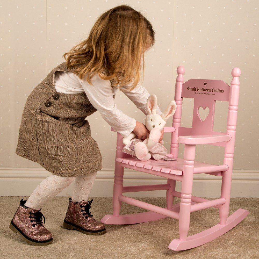 Toddlers Pink Rocking Chair. Engraved Wooden Chair.