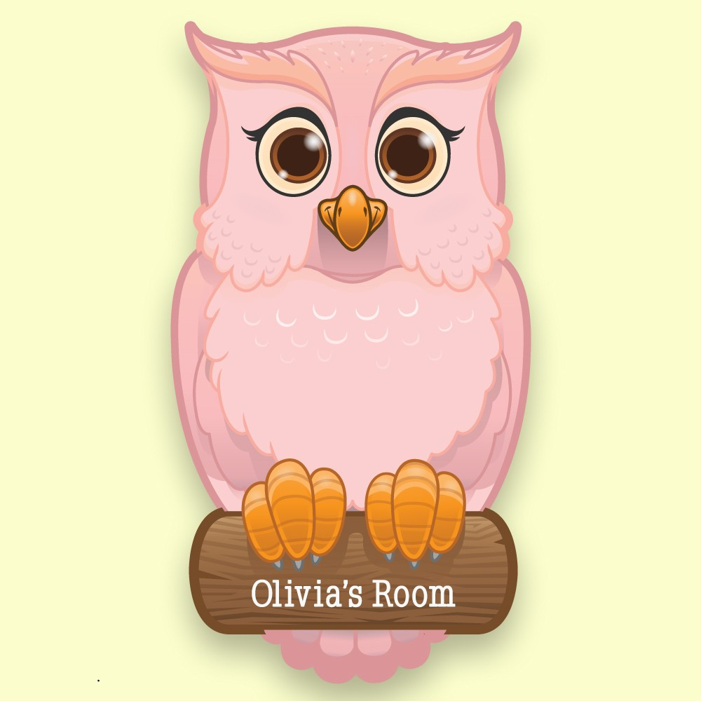 Pink Owl on Branch Personalised Bedroom Door Plate for a Girl