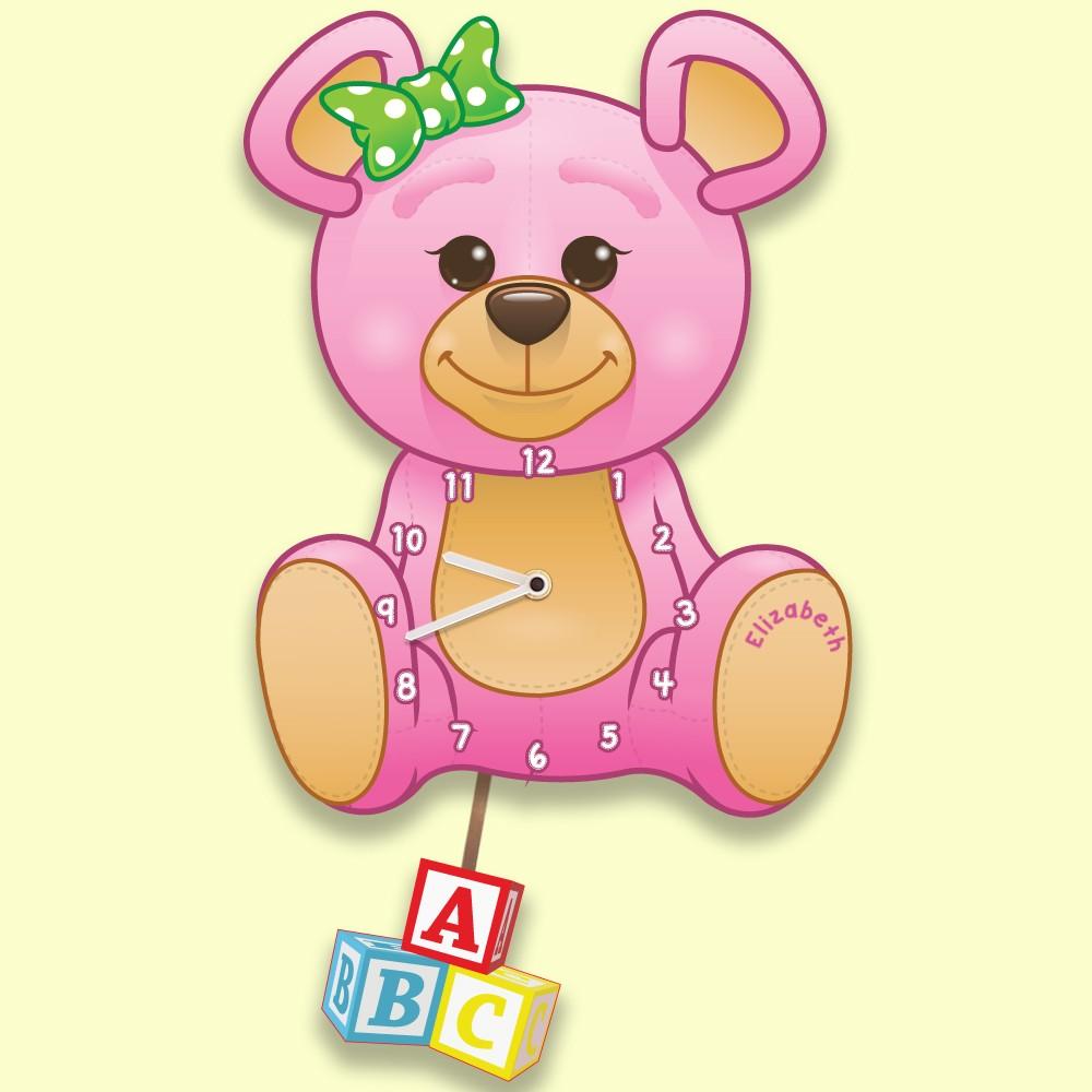 Girl Teddy Bear Bespoke Nursery Wall Clock for Baby Girl Gift
