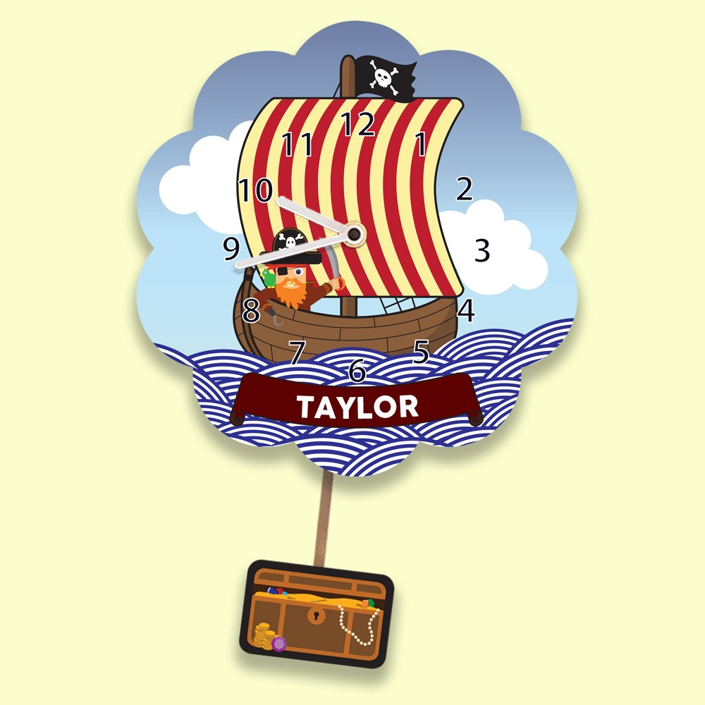 Bespoke Pirate Ship Clock with Treasure Chest Pendulum