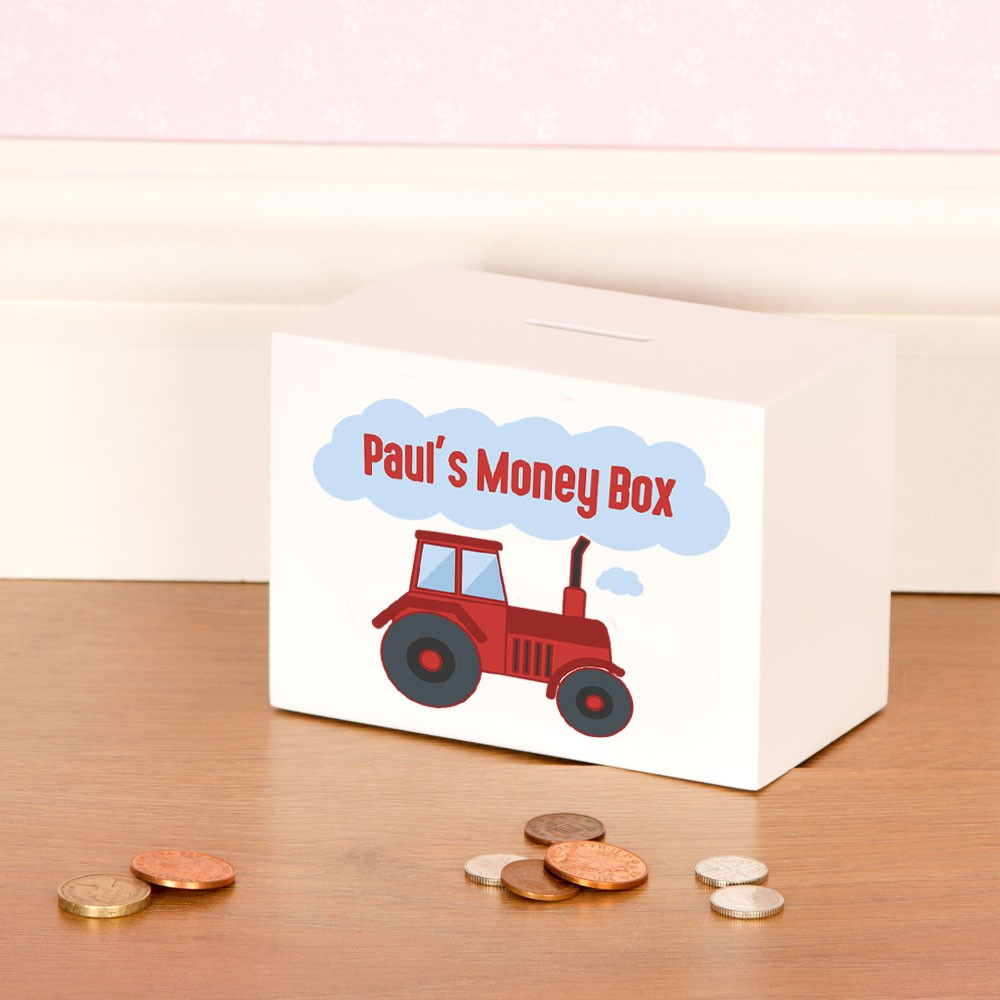 Red Tractor Wooden Money Box Personalised With Toddlers Name
