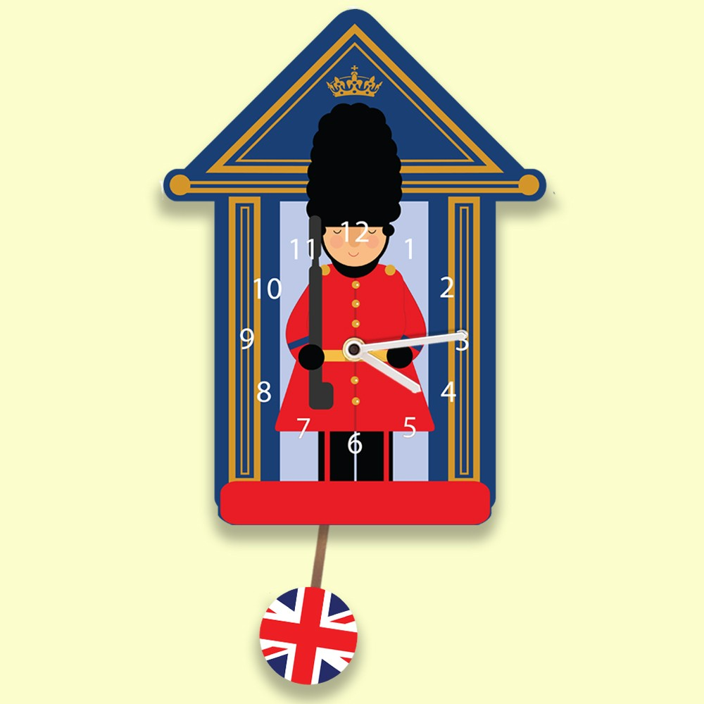 Childrens Personalised Soldier Clock with Pendulum