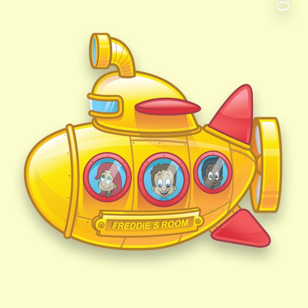 Yellow Submarine Personalised Childs Bedroom Door Sign