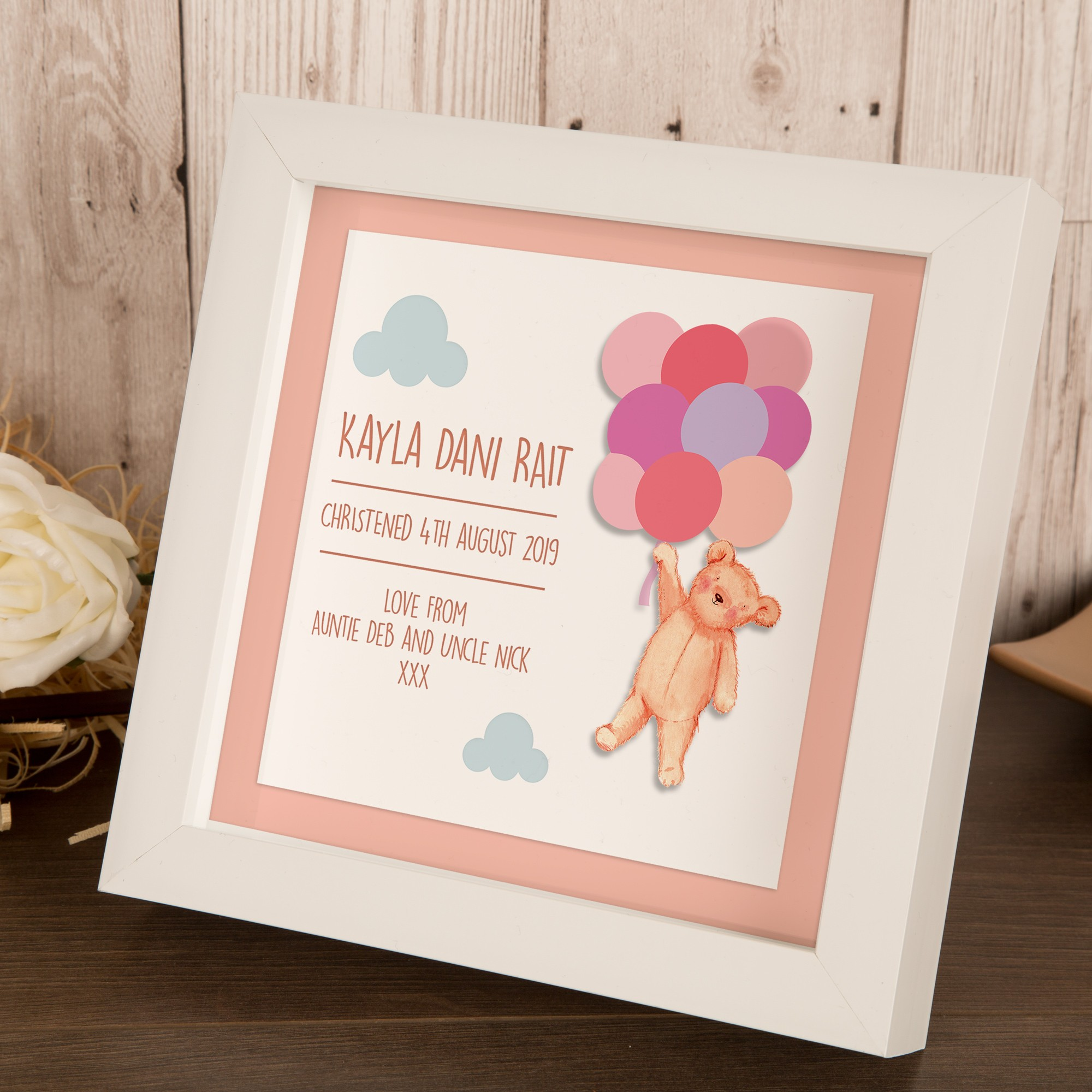Personalised Teddy with Balloons 3D Box Frame for a Little Girl.