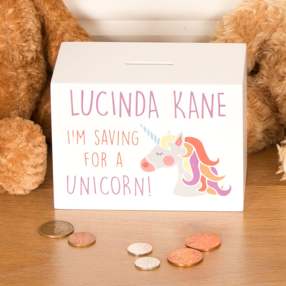 Unicorn Wooden Money Box Personalised