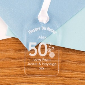 50th Birthday Acrylic Gift Tag