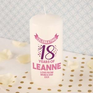 Bespoke Happy eighteenth Birthday Pillar Candle