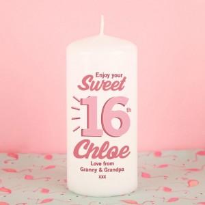 Sweet Sixteen Customised Pillar Candle