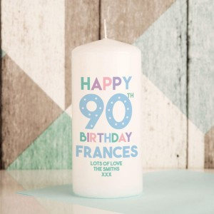 90th Birthday Personalised Block Candle