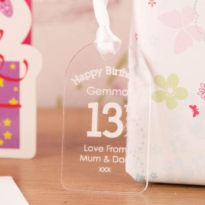 Personalised 13th Birthday Gift Tag: Hearts