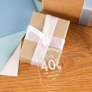 40th Birthday Acrylic Gift Tag