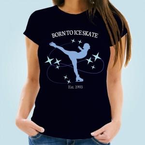 Born to Ice Skate Bespoke Navy T-Shirt