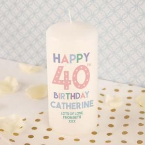 Personalised 40th Birthday Pillar Candle