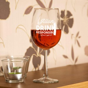Drink Responsibly Customised Wine Glass