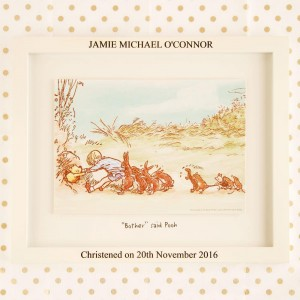 Winnie the Pooh Print with Engraved Frame: Christening