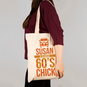 Personalised 60s Chick Shopper Bag