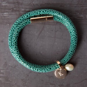 Personalised Turquoise Leather Bracelet