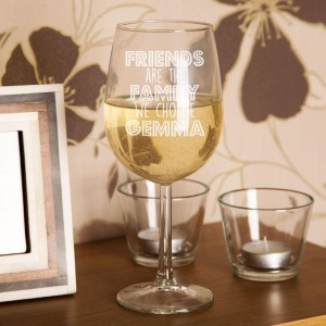 Friends Are The Family We Choose Wine Glass
