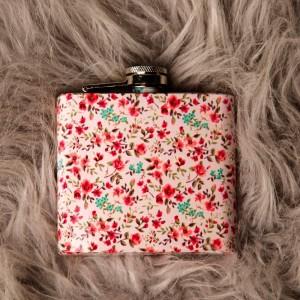 Pink Floral Hipflask