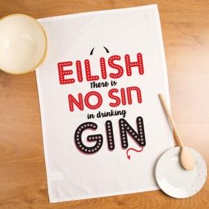 Personalised No Sin in Drinking Gin Tea Towel