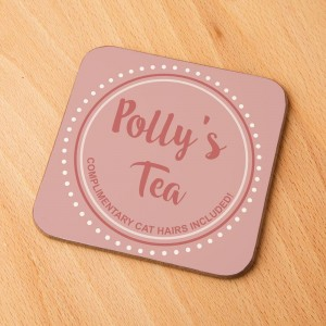Cat Owners Personalised Coaster