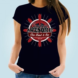 Customised Womens Captain Awesome Navy T-Shirt