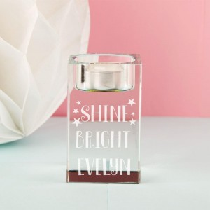 Shine Bright Personalised Glass Tealight Holder