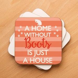 Customised Stripy Cat Home Drinks Coaster