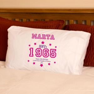 50th Birthday Established Year Pillowcase For Her
