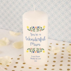 Wonderful Mum Bespoke Pillar Candle