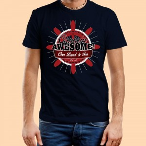Personalised Mens Captain Awesome Navy T-Shirt