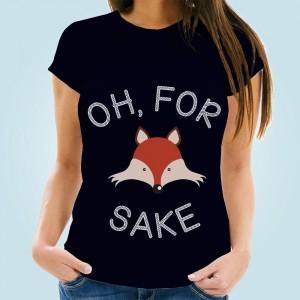 For Fox Sake! Womens Navy T-Shirt
