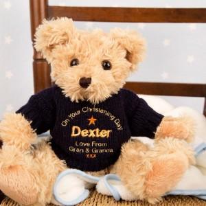 Embroidered Christening Teddy Bear: Navy Jumper
