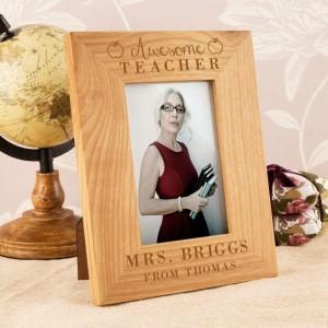 Customised Awesome Teacher Oak Frame