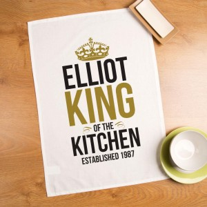 Personalised King of the Kitchen Tea Towel