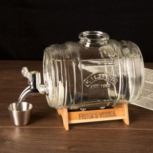 Customised Mini Barrel Drinks Dispenser with Engraved Stand