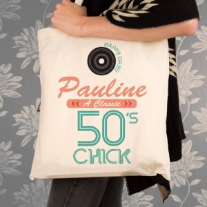 Personalised 50s Chick Cotton Shoulder Bag