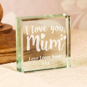 Engraved Love You Mum Glass Block with Personal Message