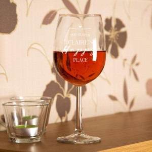 Unique Happy Place Engraved Wine Glass