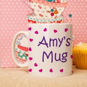 Personalised Pink Hearts Mug