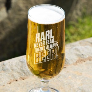 Customised Never Fear Beer Glass
