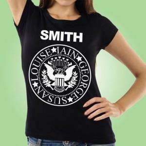 Personalised Family Member Band T-Shirt: Womens