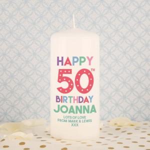Customised Happy 50th Birthday Block Candle