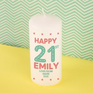 Special Customised 21st Birthday Block Candle